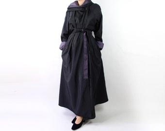 VINTAGE Reversible Jacket Hooded Cloak Belted Black Purple