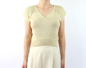 VINTAGE Cropped Sweater Silk Knit Top