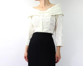 VINTAGE Off The Shoulder Blouse White 1980s Top