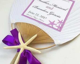 Paddle Fan with Orchid, Pink Paddle Fan, Beach Wedding Fan, Hand Fan, Fan Program