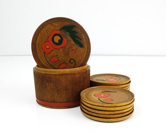 Vintage wood coaster set with painted flowers / Set of 10 Asian bamboo drink coasters