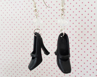 Black classy barbie shoe earrings great gift for young and old ladies and girls original jewelry handmade barbie