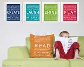Inspiration series throw pillow. Playroom decor, kids cushion. Decor for nursery. Playroom rules, cushion for playroom by WallFry