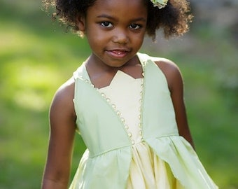 Girls Tiana Twirl Dress, Princess Tiana Dress inspired by Disney's Princess and the Frog , sizes 2T-8girls