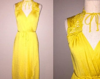 Vintage 70's boho sunshine YELLOW CROCHET top wrap dress - S