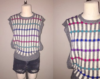 Vintage 80's hipster grey GRID STRIPES open side knit top - S/M