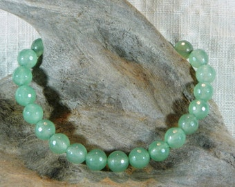 "Pale green aventurine agate bracelet 8.25"" long faceted round beads lobster clasp semiprecious stone jewelry packaged in a gift bag 11652"