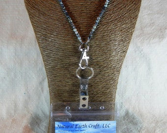 """Black gray white Picasso jasper ID badge holder 30"""" long lanyard semiprecious stone jewelry packaged in a gift bag 1507"""