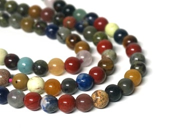 8mm round mixed gemstone beads with large holes, 8 inch strand (1131S)