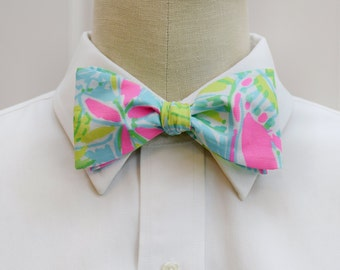 Men's Bow Tie, pink and lime bow tie, Coconut Jungle bow tie, Lilly wedding bow tie, groom bow tie, groomsmen gift, tropical bow tie, preppy