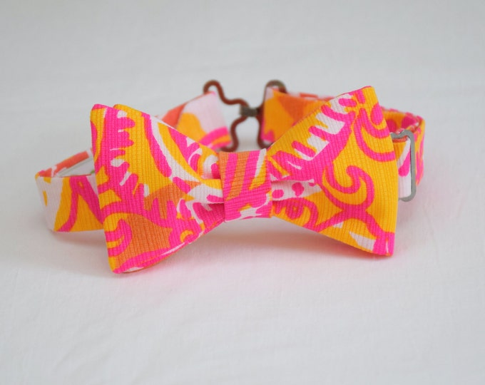 Boy's Lilly Bow Tie in neon bright Sea and be Seen, father/son matching ties, wedding accessory, toddler bow tie, ring bearer bow tie,
