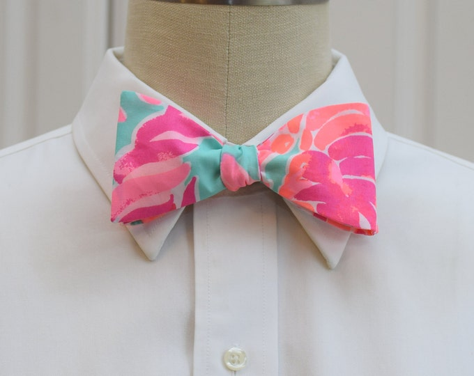 Men's Bow Tie, Valentines day gift, Lovebirds pool blue/hot pink/coral Lilly print bow tie, wedding/groom/groomsmen bow tie, prom bow tie