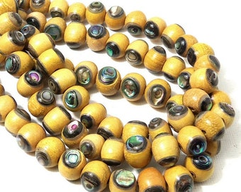 Nangka Wood with Abalone Shell, 10mm, Round, Natural Wood, Inlaid Wood Bead, Unique, Artisan Bead, Smooth, 8 Inch Strand - ID 2188