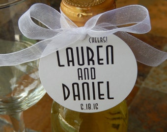 "Art Deco Style Wedding Favor Tags For Mini Wine or Champagne Bottles - Engagement - Bridal Shower - Anniversary - (50) 2"" Thank You Tags"