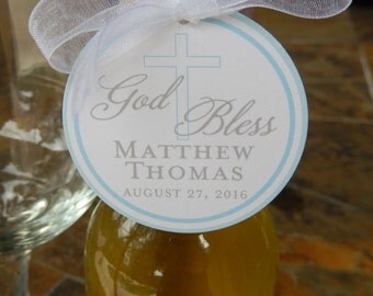 "God Bless Custom 2"" Baptism or First Communion Favor Tags - for Mini Wine or Champagne Bottles - Cookie Favors - Party Favors - (50) Tags"
