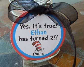 """Dr. Seuss 2nd Birthday Favor Tags - For Cake Pops - Lollipops - Cookies - Desserts - Party Favors - Cat in the Hat - (24) 1.5"""" Printed Tags"""