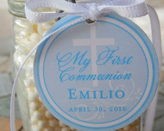 "My First Communion Custom Thank You Favor Tags - For Cake Pops - Lollipops - Cookies - Catholic Party Favors - (50) 1.5"" Printed Tags"