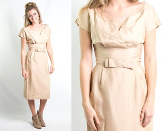 Vintage 1970s Champagne Silk Dress * Light Gold Champagne Silk Wiggle Cocktail Dress * Size Medium * Rockabilly Pin up * FREE SHIPPING