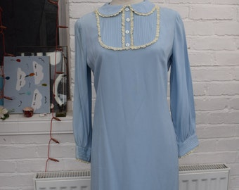 1960s Vintage  Pale Blue Chiffon And Lace Mod Mini Dress