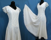Mexican Wedding Dress - off-white Cotton & Crochet Lace - Sm - Made in Mexico