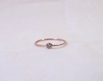 Champagne diamond ring - 14K gold band