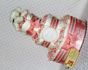 Baby Diaper Cake Lamb Girls Pink Shower Gift or Centerpiece