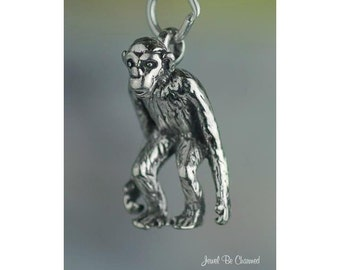 Chimpanzee Charm Sterling Silver Chimp Primate Monkey 3D Solid .925