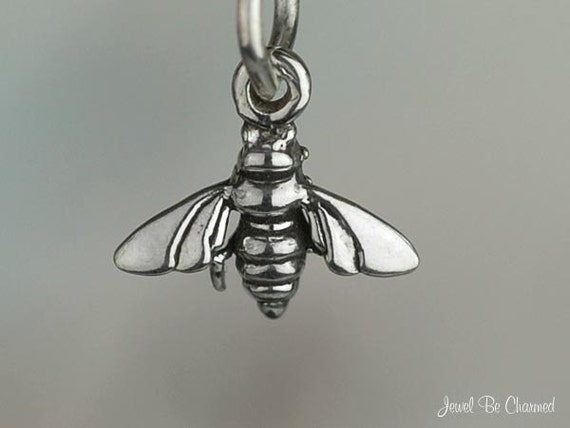 Miniature Bee Charm Sterling Silver Bumblebee Honeybee Very Small Tiny