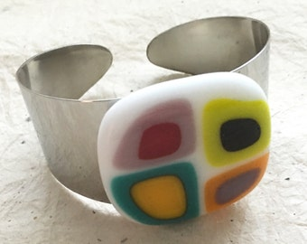 Fused Glass Bracelet Cuff