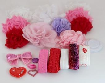 Headband Kit - XOXO Love - Baby Headband Station - Baby Shower DIY Headbands - Valentines Day - Wholesale Headband Kits
