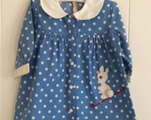 Vintage toddler dress, polka dots, bunny applique, Easter dress, size 2-3, portrait dress, MidCentury