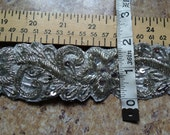 "ONE YARD (& a bit extra) VINTAGE beaded trim bullion purl embroidered Silver Embellishment 1.75"" wide flowers leaves Elven Medieval Bridal"