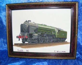 Class A2 Steam Train by C. Willman - Diesel Vintage Train - Railway Painting - Vintage picture