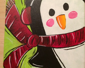 Penguin Christmas Painting