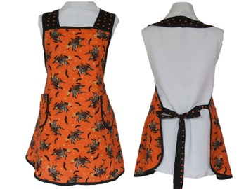 Halloween Apron,  Kitchen Witch with Polka Dots - Full Figure Apron - size L - Ready to Mail