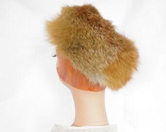 Fur tilt hat, vintage fox 1960s toque, open crown
