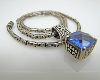 Byzantine Bali Silver Pendant Necklace. Sapphire Blue Crystal. Bali Byzantine 925 Sterling Chain With Slide Ethnic Boho Vintage Jewelry.