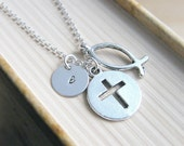 SALE, Christian Necklace, Ichthys Necklace, Cross Fish Necklace, Baptism Necklace, Personalized Jewelry, Initial Necklace,Religious jewelry