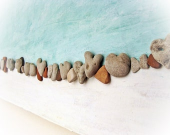 Unique Art - Hearts Wall art - Heart Beach Stones- Beach House Wall Hanging - sea finds - 3D Wall Decor with Actual Heart Shaped Beach rocks