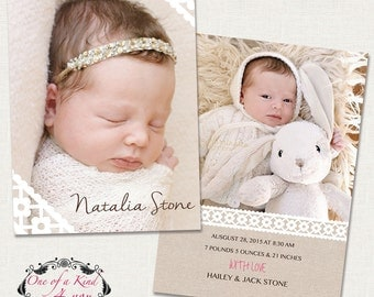 Digital Photo Birth Announcement Template for Photographers, 5x7 Birth Announcement Card with lace, PSD Template, Instant Download