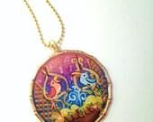 Enchanted Tiki Pendant - hand painted pendant gold