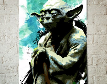 Yoda - Star Wars Art - Star Wars Poster, Art Print, Star Wars Print, Yoda print, Fan Art Illustration, Star Wars watercolor, Star Wars Gift