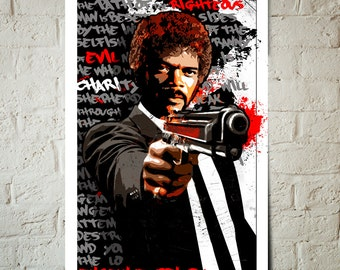 Pulp Fiction - Jules Winnfield - Samuel L Jackson, Fan Art, Poster, Art Print, Pop Art illustration, Pulp Fiction Poster, Quentin Tarantino