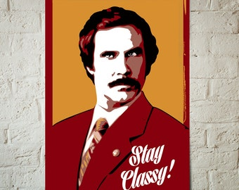 Anchorman - Will Ferrell - Anchorman Poster, Pop Art Celebrity Portrait, Fan Art, Art Print, Dorm Decor, Movie Art, Poster, Geerkery Art