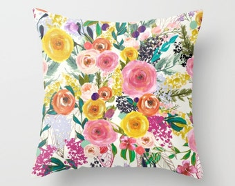 Pillow Cover with Painted Blooms Floral Print. Bold Bright Colorful Flower Painting in tones of pinks, peach, yellow, green and more.