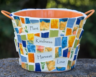 """Mosaic Flower Pot with Blue, Orange and Green China Pieces  6""""x5.5"""" One of a Kind Mothers Day Planter READY TO SHIP"""