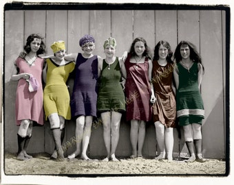 Instant Download Vintage Photograph - Colorful Bathing Beauties