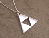 Teeny Triforce Sterling Silver Pendant on chain