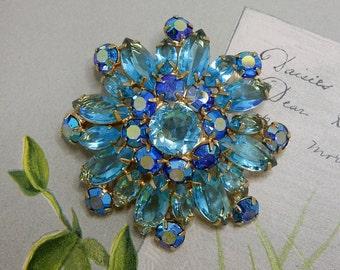 Aqua Blue Marquise Cut Rhinestone Snowflake  Brooch    NCV15
