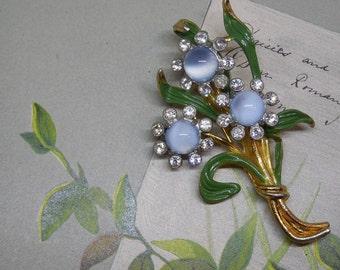 Blue Moonglow Cabochon Flower Bouquet Fur Clip or Brooch 1940s